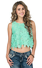 Double Zero Women's Mint Floral Crochet Sleeveless Crop Top
