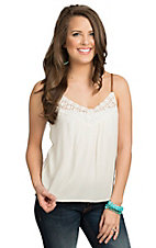 Double Zero Women's Cream with Braided Leather Straps Fashion Top