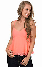 Double Zero Women's Neon Peach Scallop Bottom Fashion Tank Top