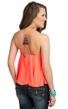 Double Zero Women's Neon Coral Chiffon with Aztec Multi Cross Back Fashion Tank