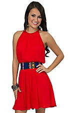 Double Zero Women's Poppy Red with Colorful Waistband Sleeveless Dress