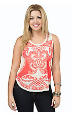Peach Puff Women's Salmon & Cream Print Chiffon Tank