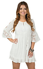 Double Zero Women's White with Lace Cold Shoulder Peasant Dress