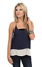 Double Zero Women's Cream & Navy Tiered Chiffon Racer Back Tank - Reversible