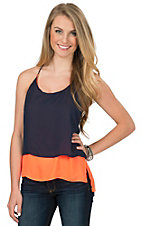 Double Zero Women's Neon Orange & Navy Tiered Chiffon Racer Back Tank - Reversible