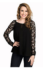 Double Zero Women's Black with Black Lace Long Sleeves Fashion Top