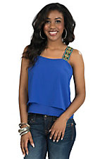Double Zero Women's Blue with Tribal Straps Sleeveless Top