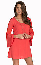 Double Zero Women's Coral Long Bell Sleeves with Crochet Dress