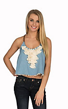 Double Zero Women's Chambray with Vanilla Ruffle Sleeveless Crop Top