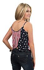 Double Zero Women's American Flag Wrap Back Fashion Tank Top