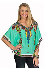 Peach Puff Women's Aqua with Multi Print Poncho Top
