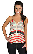Double Zero Women's Cream with Blue and Red Stripes Racer Back Chiffon Fashion Tank Top