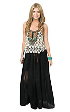 Double Zero Women's Black with Lace Inset Belted Peasant Style Skirt