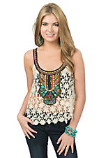 Double Zero Women's Vanilla Floral Crochet with Bead Embellishment Sleeveless Top