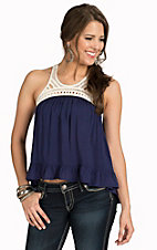 Double Zero Women's Navy with White Crochet Neckline Hi-Lo Racerback Fashion Tank Top