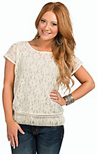 Double Zero Women's Ivory Lace with Fringe Short Sleeve Top