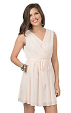 Double Zero Women's Blush Chiffon with Crochet Trim Sleeveless Dress