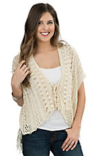 Double Zero Women's Vanilla Crochet Fringe Short Sleeve Cardigan