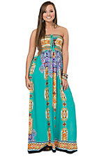 Peachpuff Turquoise with Multicolor Aztec & Floral Paisley Print Sleeveless Maxi Dress