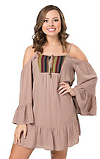 Double Zero Women's Taupe with Tapestry Off The Shoulder Dress