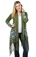 Double Zero Women's Olive with Aztec Trim with Fringe Long Sleeve Cardigan