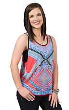 Peach Puff Women's Red Orange Printed Chiffon Tank