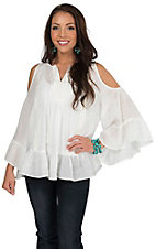 Double Zero Women's Off White with Crochet Trim Long Sleeve Cold Shoulder Top