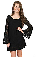 Double Zero Women's Black Lace Scoop Back Bell Long Sleeve Dress
