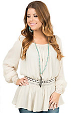 Double Zero Women's Ivory with Crochet Trim Long Sleeve Peasant Blouse
