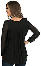 Double Zero Women's Black Chiffon with Pleated Back Long Sleeve Blouse