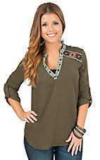 Peach Puff Women's Olive with Embroidery 3/4 Tab Sleeve Blouse