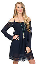 Double Zero Women's Navy Lace & Chiffon Off The Shoulder Dress