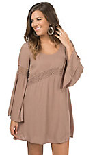 Double Zero Women's Taupe with Crochet Long Bell Sleeve Dress