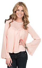 HYFVE by Double Zero Women's Peach Crochet with Open Back Long Bell Sleeve Fashion Top