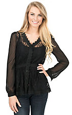 Double Zero Women's Black Lace with Long Chiffon Sleeves Button Up Blouse