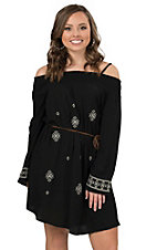 Peachpuff Women's Black with White Embroidery Off The Shoulder Long Sleeve Dress