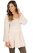 Double Zero Women's Sand Open Back Long Bell Sleeve Dress / Tunic