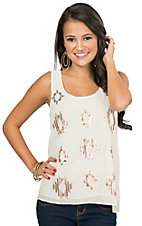 Double Zero Women's Ivory Chiffon with Sequins Sleeveless Top