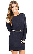 Double Zero Women's Navy Long Sleeve Dress with White Waist Tie