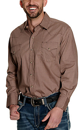 Ely Cattleman Men's Brown and Khaki Geo Print Long Sleeve Western Shirt
