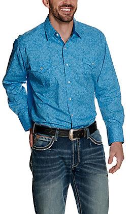 Ely Cattleman Men's Blue Paisley Print Long Sleeve Western Shirt