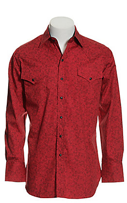 Ely Cattleman Men's Red with Black Paisley Print Long Sleeve Western Shirt