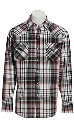 Ely Cattleman Men's Grey and Red Plaid Long Sleeve Western Shirt