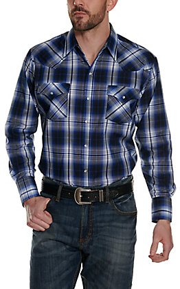Ely Cattleman Men's Navy, White & Black Plaid Long Sleeve Western Shirt