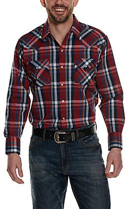 Ely Cattleman Red, Navy & Khaki Plaid Long Sleeve Western Shirt
