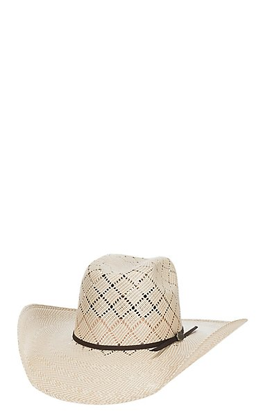 b4e3745a178 Cavender s Cowboy Collection 20X Two Tone Crisscross Vented Straw ...