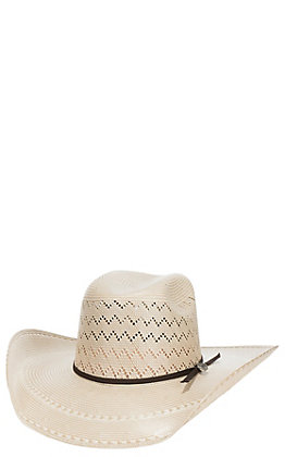 Cavender's Cowboy Collection 20X Two Tone Zigzag Vented Straw Hat