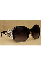 Blazin Roxx Women's Brown with Silver and Gold Round Berry Cross Concho and Clear Crystals Sunglasses
