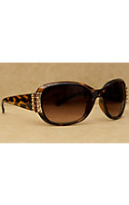 Blazin Roxx Women's Brown Leopard with Gold and Topaz Crystals Sunglasses