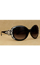 Blazin Roxx Women's Black with Silver Round Concho and Clear Crystals Sunglasses
